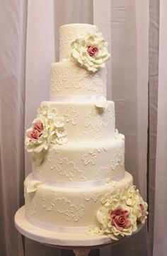 5 tier pale pink vintage romance with white brush embroidery and pink and white gumpaste roses