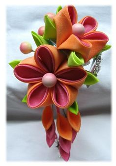 fabric flowers | Hair ties clips and bands