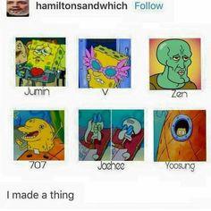 If spongebob was Mystic Messenger. Jumin X Mc, Mystic Messenger Memes, L Death, Jumin Han, Mini Comic, Saeran, A Silent Voice, Dating Sim, K Idol