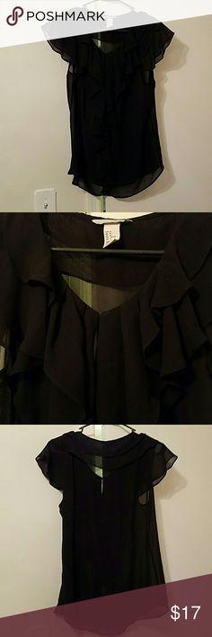 NWOT H&M black sheer chiffon top H&M NWOT black sheer chiffon cap sleeve top with ruffles. Never worn, smoke-free home. US size 12 H&M Tops Blouses