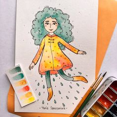 Rainy Girl  #tania_autumndraw #rainyday #girl #character #characterdesign #watercolor #illustration #painteveryday #picame #colorful #brightside #artistsoninstagram #inspiration