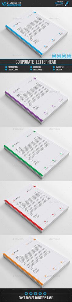 Corporate Letterhead Template Bundle - PSD, MS Word Letterhead - corporate letterhead template