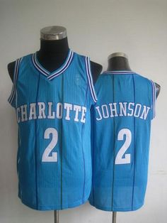 96ff3cc7f Pelicans  2 Larry Johnson Light Blue Charlotte Hornets Throwback Stitched  NBA Jersey