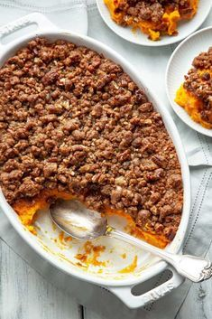 Sweet potato casserole velvety smooth sweet potatoes topped with the most amazing sweet crunchy pecan and brown sugar streusel. A must have on the Thanksgiving or holiday table. Sweet Potato Rolls, Best Sweet Potato Casserole, Sweet Potato Souffle, Loaded Sweet Potato, Sweet Potato Pecan, Sweet Potato Recipes, Sweet Potato Easter Recipe, Sweet Potato Caserole, Sweet Potato Dessert