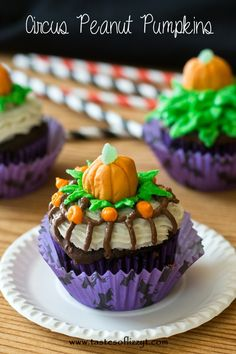 Circus Peanut Pumpkins {Tastes of Lizzy T}  Pumpkins made from the circus peanut candy! http://www.tastesoflizzyt.com/2013/10/06/circus-peanut-pumpkins/ food recipes, halloween desserts, pumpkin cupcakes, candies, circus peanut, cupcak pumpkin, peanut pumpkin, cupcake toppers, pumpkin tast