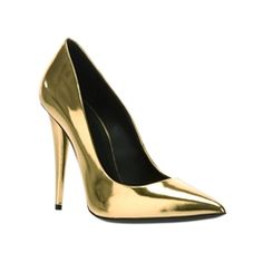 Fascinating Gold Patent Leather Closed Toe Stiletto Heel Pumps