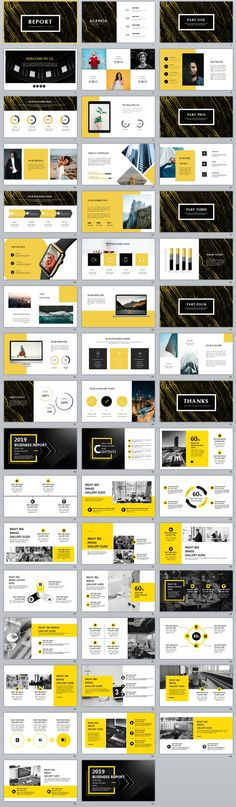 2 in 1 yellow business report slides Professional Powerpoint Templates, Powerpoint Themes, Business Powerpoint Templates, Creative Powerpoint, Keynote Template, Powerpoint Presentations, Flyer Template, Presentation Software, Project Presentation