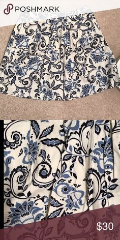LIKE NEW LOFT Skirt LIKE NEW LOFT Skirt, size 8, worn once and washed per instructions. White background with blue flowers. LOFT Skirts