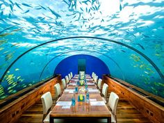 Secured five meters below sea level at the Hilton Maldives Resort and Spa, the Ithaa Undersea Restaurant is a mostly acrylic building that only seats 14. Offering a 270-degree panoramic view to its customers