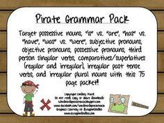 "Target possessive nouns, ""is"" vs. ""are"", ""has"" vs. ""have"", ""was"" vs. Irregular Plural Nouns, Irregular Past Tense Verbs, Speech Pathology, Speech Therapy, Speech And Language, Language Arts, Possessive Nouns, Object Pronouns, Grammar Practice"