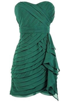 Tiered Strapless Chiffon Designer Dress by Minuet in Hunter Green from LilyBoutique.com