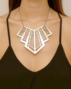 Art Deco Gold necklace Laser cut leather by DouryAccessories