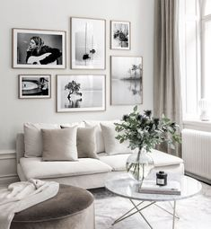 """35 Adorable Gallery Wall Design Ideas To Try Right Now - I just worship gallery walls. Gallery walls are an elegant way to decorate your walls and to add a unique character to your interior. There is no """"rig. Beige Living Rooms, Living Room Art, Living Room Modern, Living Room Decor Black And White, Living Room White Walls, Black And White Photo Wall, Living Room Landscape Art, Canvas For Living Room, Plants For Living Room"""