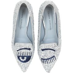 Chiara Ferragni Women 20mm Sequined Flirting Eyes Loafers (1,755 ILS) ❤ liked on Polyvore featuring shoes, loafers, silver, loafers moccasins, short heel shoes, small heel shoes, leather sole shoes and loafer shoes