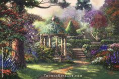 """""""The Garden of Prayer"""" was painted in December 1997 and is based on an actual gazebo in Hawaii. The seven pools are in reference to God; take notice of the figure at the end of the path. The open gate in the piece symbolizes heaven for Thom. Learn more: https://thomaskinkade.com/art/the-garden-of-prayer/?ref=13"""