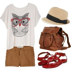 oversized graphic tee (got it!), kakhi shorts, hat, big brown purse, strappy sandals.