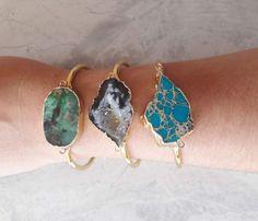 Agate Geode Electroplated Druzy, Gold Cuff Bracelet, Raw Bracelet. Raw Chrysopra #Handmade