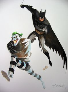Batman chasing the Joker /// by Mark McHaley