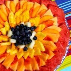 """Fruit """"Flower"""" Platter ... what could be better on a hot day than a rainbow of fruit"""
