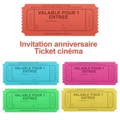 Invitation anniversaire ticket de cinéma