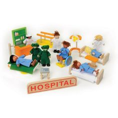 Hospital Play Set by ConstructivePlaythings. $79.99. Let children act out their knowledge and fears of visiting the doctor or hospital with this wooden play set. Includes 8 wooden posable figures: 2 surgeons, 4 patients (one with leg wrap), 2 doctors and a nurse along with hospital beds, surgery table, IV stand, pharmacy kiosk, and even a wheelchair. 27 pc. Set. Ages 3 yrs. +.