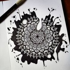 """1,388 Likes, 15 Comments - Mandalas, Zentangles, Doodles (@lady_meli_art) on Instagram: """"Maybe I would name it """" Splash mandala"""" , do you have any name for it? . Win a premium leather…"""""""