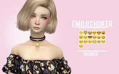 Sims 4 Updates: Sens Felipa - Accessories, Jewelry : Emoji Choker, Custom Content Download!