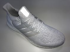 JR SR4U Reflective White Soccer Laces on adidas Ultraboost 3.0