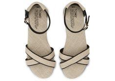 Black Trim Burlap Women's Correa Sandals #toms #shoes
