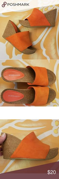 """BCBG Orange Wedge Sandals These adorable orange wedges are th perfect footwear for summer and fall. They are a comfy suede slip-on that looks great wirh both dresses and jeans. These wedges are in good used condition witj some marks on the orange suede (see collage pics). The height is 4"""" with a 1 1/4 platform. BCBGeneration Shoes Wedges"""
