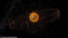 There are an estimated 500,000 pieces of space junk and satellites being tracked in orbit around the Earth (illustrated) with most concentrated around the Low Earth Orbits used by military satellites. Scientists warn this could lead to collisions with operational satellites