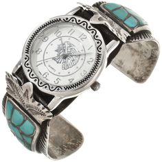 Old Pawn Turquoise Ladies Watch Cuff by Zuni Edison and Lorenda Bobelu display their signature fish scale pattern surrounded with hand hammered Sterling.
