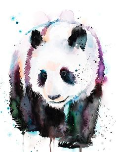 Watercolor Animals, Watercolor Paintings, Framed Art Prints, Painting Prints, Panda Painting, Image Panda, Cute Panda Drawing, Cute Panda Wallpaper, Drip Art