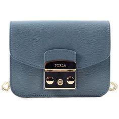 Furla Metropolis Mini Xbody ($210) ❤ liked on Polyvore featuring bags, handbags, shoulder bags, dolomia, furla purses, blue purse, real leather purses, mini shoulder bag and blue shoulder bag