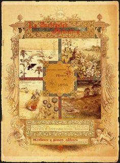 """Alexandre de Riquer (1856 -1920). Capçalera del número de Cap d'Any de La Ilustración Artistica, 1896"""". Montaner y Simón. Barcelona. España."""