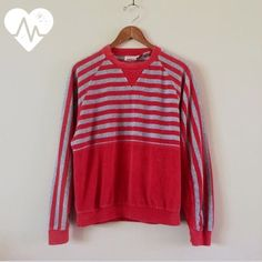 Stripe Velour Pullover Charlie's Angels style right down to the label! Soft and sporty pullover long sleeve, crew neck and banded hems. Small bleach mark on arm near inside wrist.  BRAND: Jaclyn Smith Sport MATERIAL: cotton/poly YEAR/ERA: 80s LABEL SIZE: M BEST FIT: S/M  MEASUREMENTS: Bust 21 inches Length 24 inches See Closet Guide & Size Guide posts for more info.  ☠ No trades please!  Check out my closet for more vintage tees! Vintage Tops Sweatshirts & Hoodies