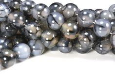 black dragon vein agate round beads - striped gemstone necklace beads - quality agate stone beads for jewelry -6-12mm beads - 15 inch