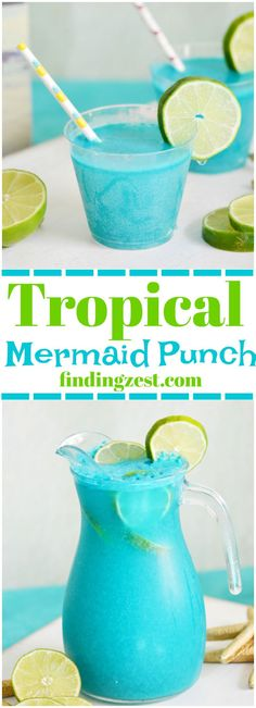 Tropical Mermaid Punch Recipe Throwing an mermaid, pool or ocean themed party? This Mermaid Punch recipe is quick and delicious featuring tropical flavors! Your guests will love this blue pina colada punch! Non Alcoholic Fruit Punch, Alcoholic Punch Recipes, Party Punch Recipes, Party Drinks Alcohol, Alcoholic Drinks, Beverages, Alcohol Punch, Fruit Drinks, Blue Drinks
