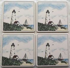 Barlow ArtStone Coasters Absorbent Design Lighthouse