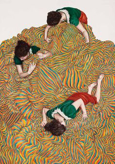 Monica Rohan Paints Self-Portraits Being Swallowed Up By A Beautiful Vortex Of Patterned Fabric