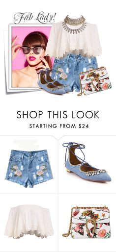 """...."" by elenb ❤ liked on Polyvore featuring Post-It, Aquazzura, Gucci, Summer, summerstyle, women and summer2016"