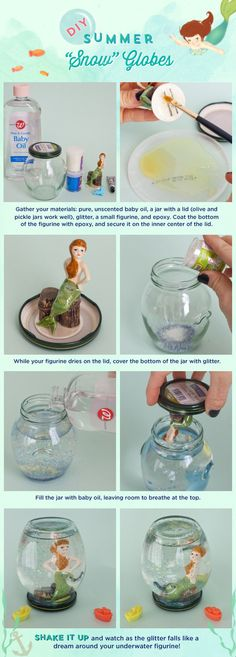 Snow Globes --- Glue figurine to lid, fill bottle with baby oil and glitter, seal lid ---