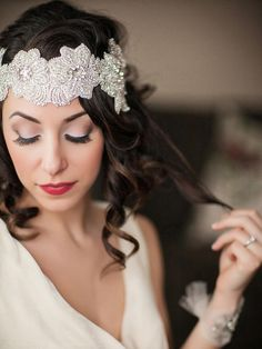 Glam wedding makeup look for brown hair and fair skin
