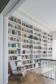 18 Beautiful Scandinavian Hallway Designs You Need To See - home library Home Library Design, Home Interior Design, House Design, Interior Office, Interior Paint, Hallway Designs, Hallway Ideas, Sweet Home, Home Libraries