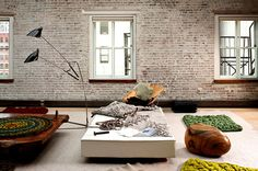 feathers, freesia & fishing tackle: The Live / Work Space of Textile Queen Dana Barnes Soho Loft, Stone Feature Wall, Feature Walls, Interior Styling, Interior Design, New York Loft, White Wash Brick, New York Style, Furniture