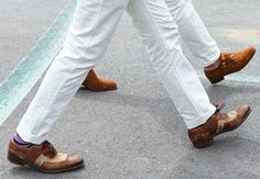 Step by step in white denim, by Tommy Ton