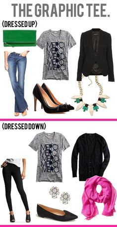 jillgg's good life (for less) | a style blog: how to style a graphic tee: dressed up & dressed down!
