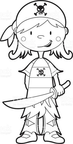 Colour In Pirate Girl Template Vector Art