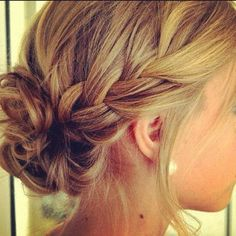 Bridesmaid hair? Simple braid and bun.