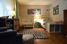 polka dot rug, Ikea, wingback, crib, twin, stripe curtains, storage, Boys' shared room - photo by Sarah Greenman - via La Maison Boheme